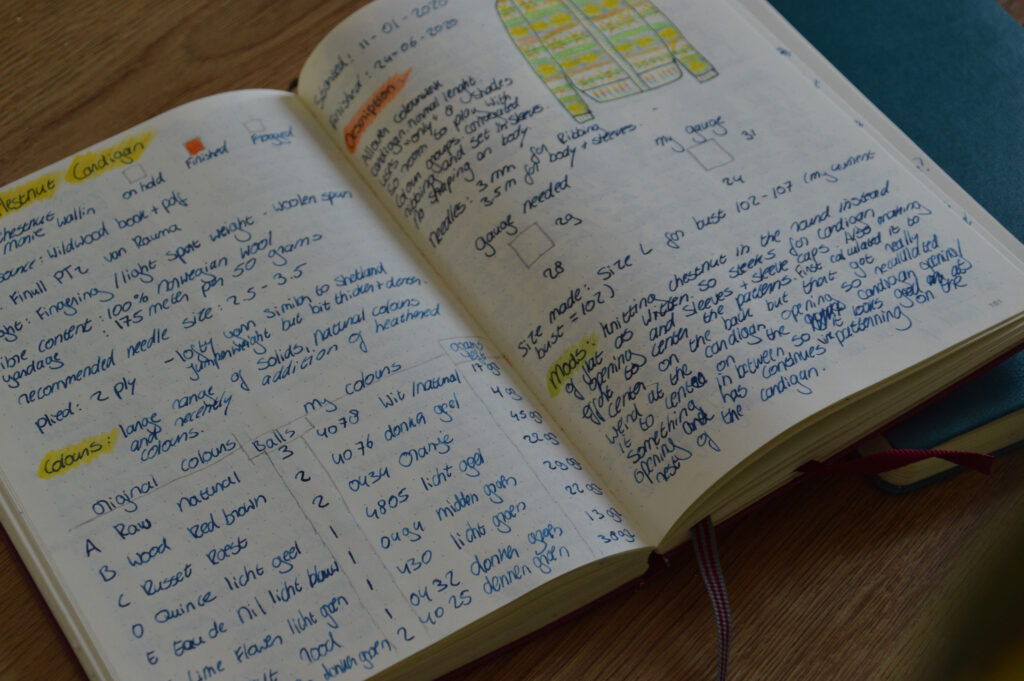 My journal, open on a page detailing the status and materials used of a knitting project